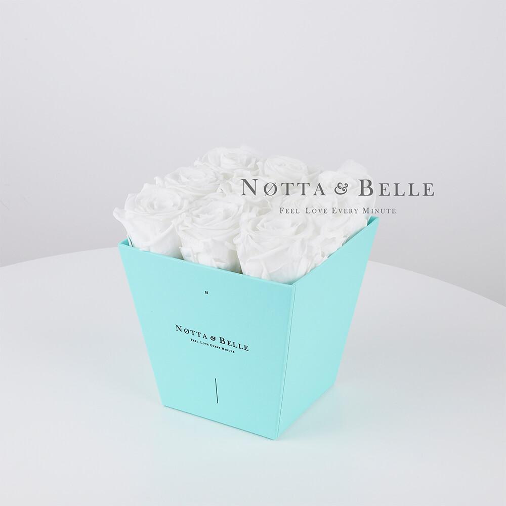 Долговечный букет из 9 белых роз - №183