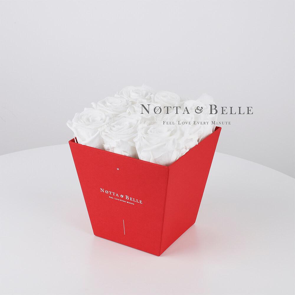 Долговечный букет из 9 белых роз - №184
