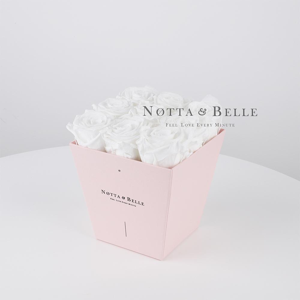 Долговечный букет из 9 белых роз - №185