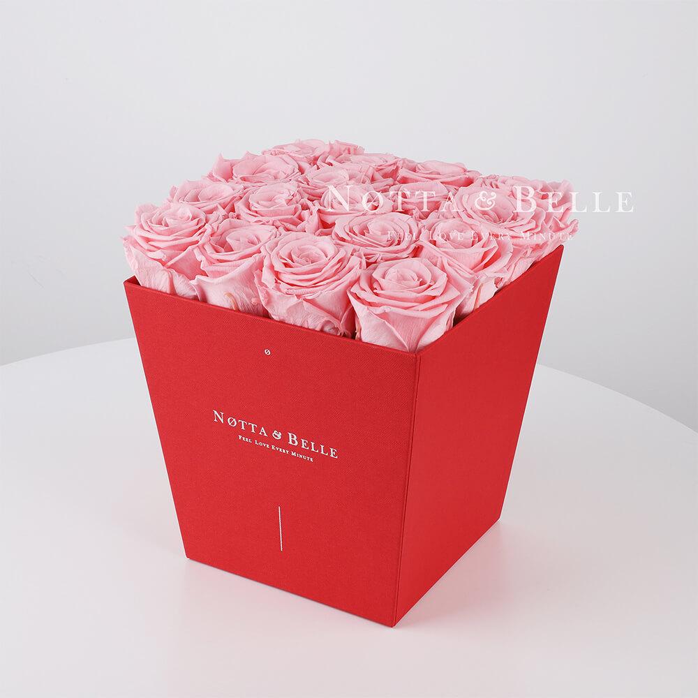 Долговечный букет из 17 розовых роз - №224