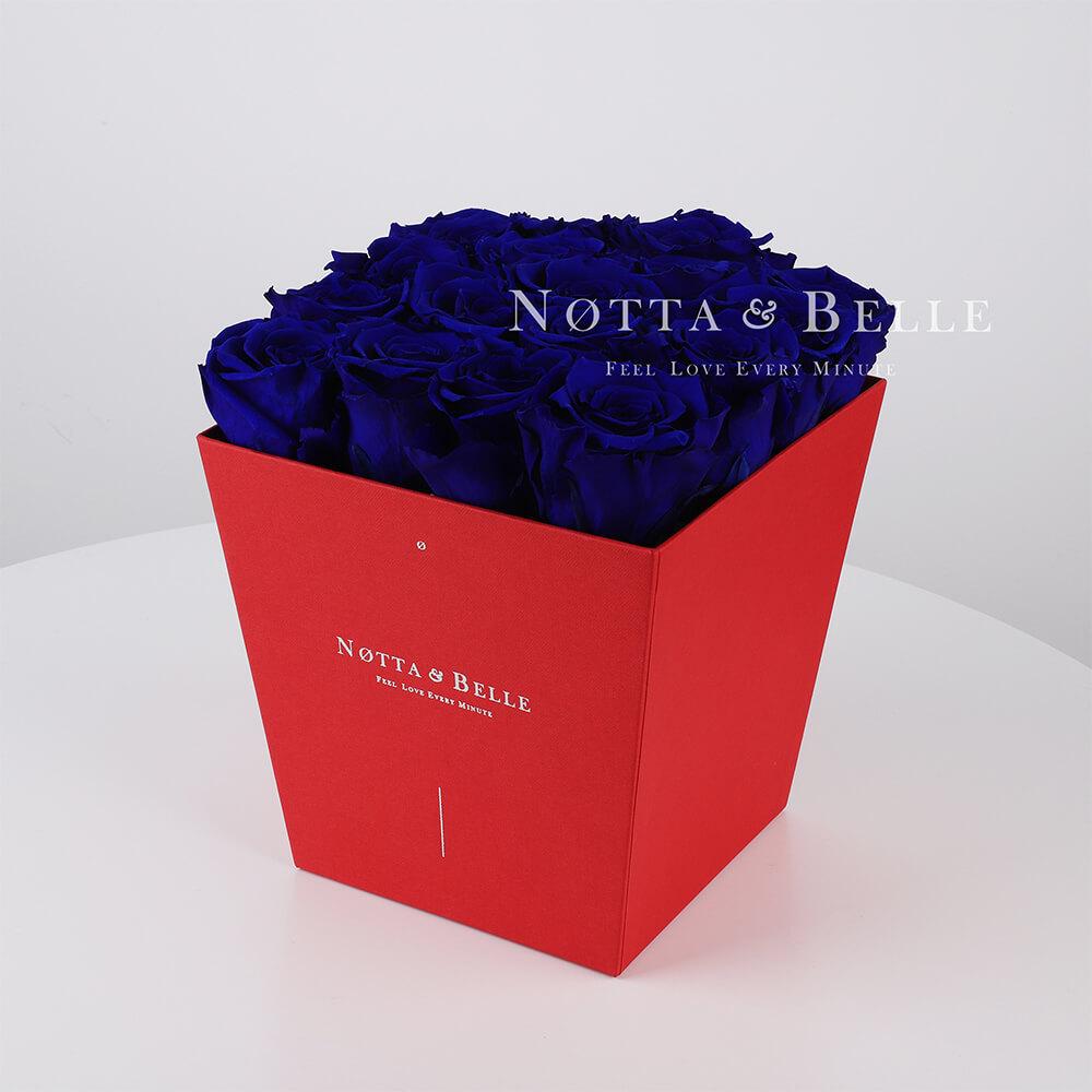 Долговечный букет из 17 синих роз - №234