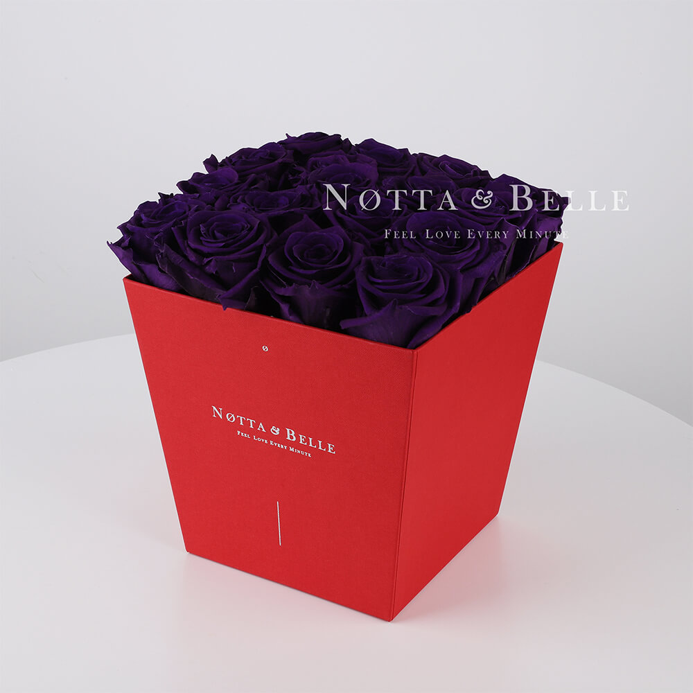 Долговечный букет из 17 фиолетовых роз - №254