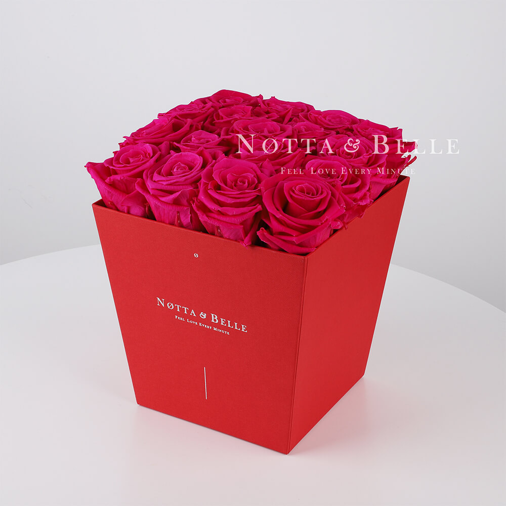 Долговечный букет из 17 ярко розовых роз - №264