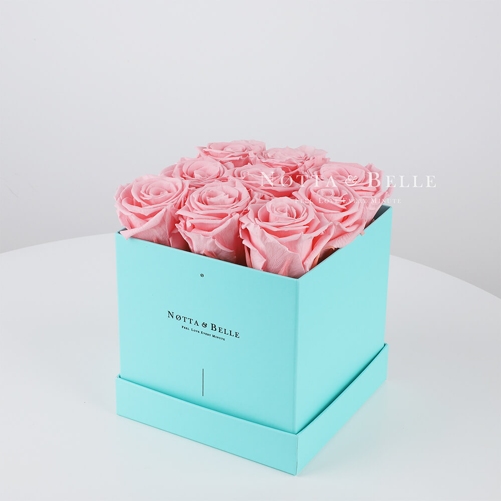 Долговечный букет из 9 розовых роз - №323