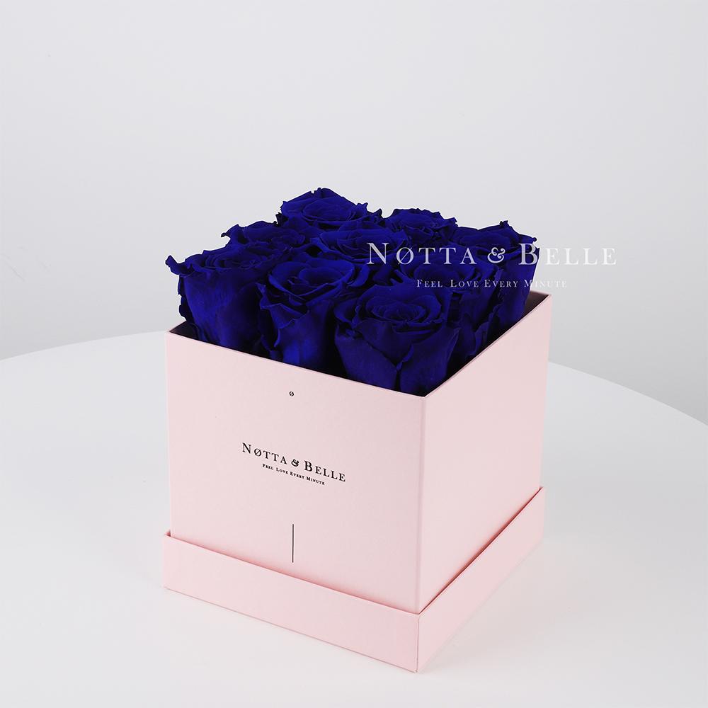 Долговечный букет из 9 синих роз - №335