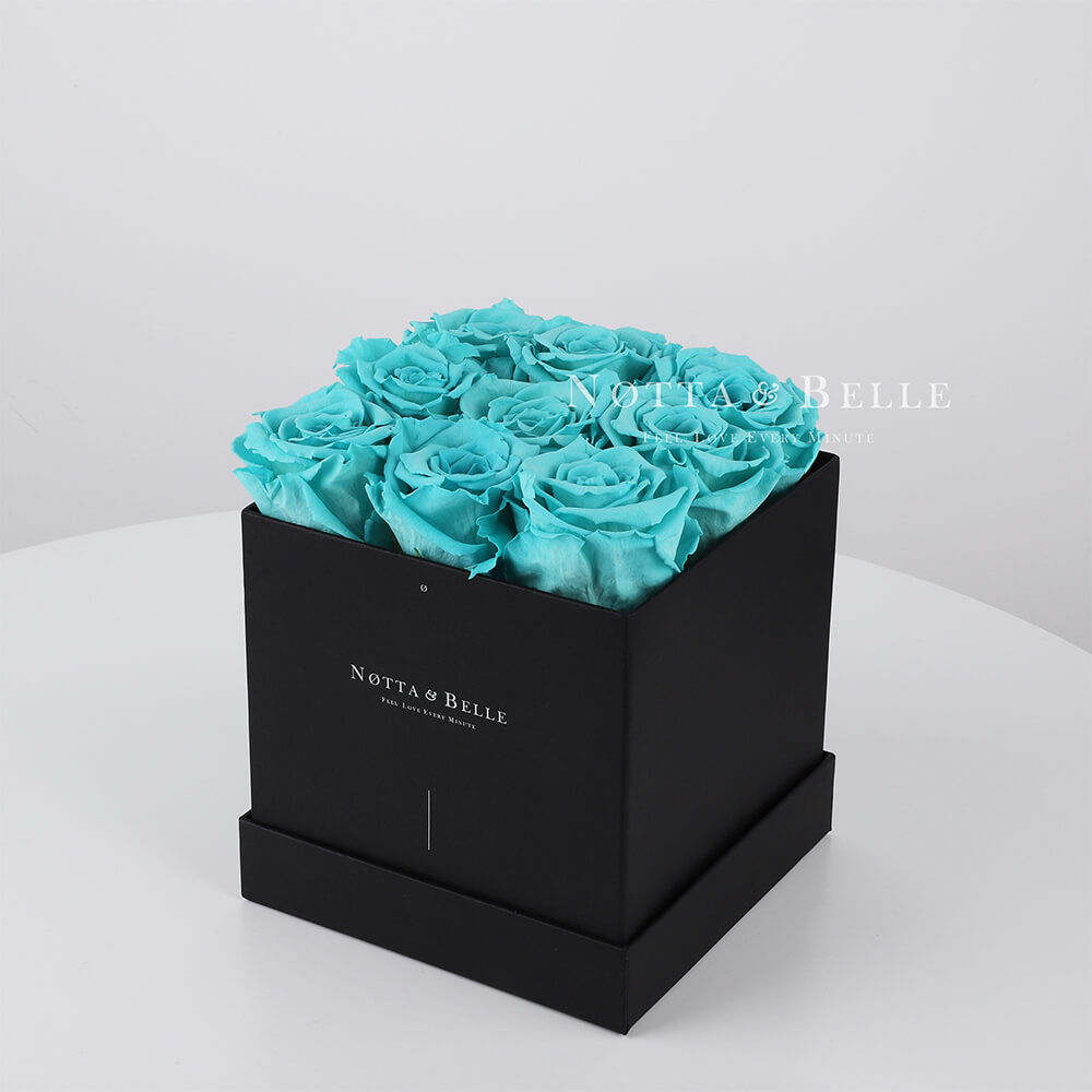 Долговечный букет из 9 бирюзовых роз - №342