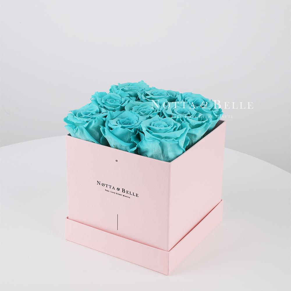 Долговечный букет из 9 бирюзовых роз - №345