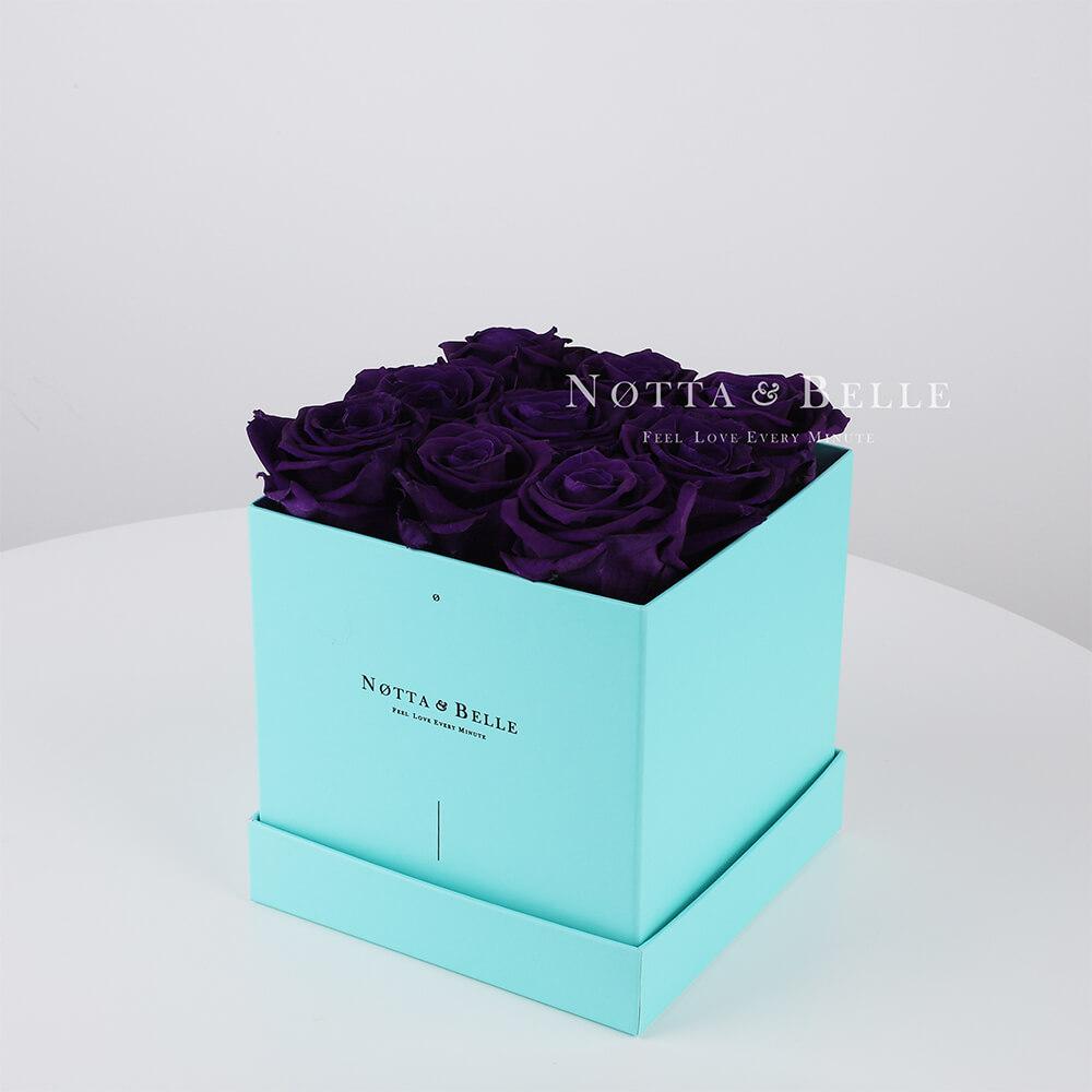 Долговечный букет из 9 фиолетовых роз - №353