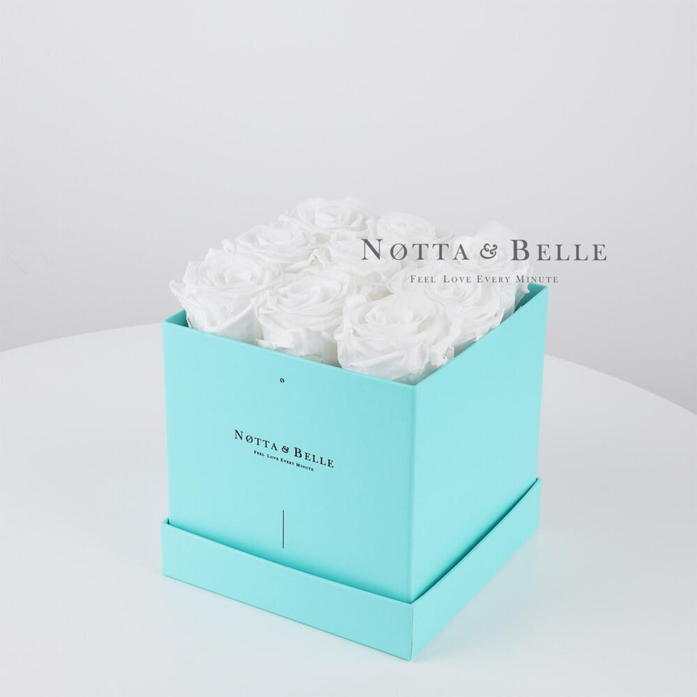 Долговечный букет из 9 белых роз - №383