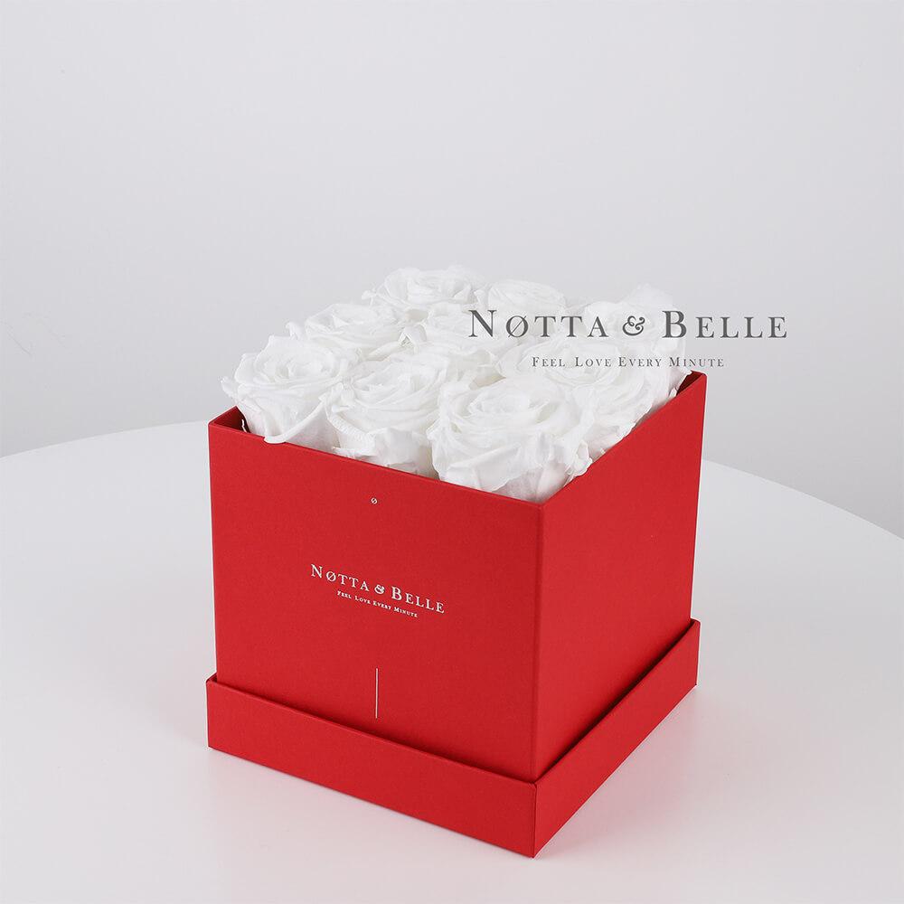 Долговечный букет из 9 белых роз - №384