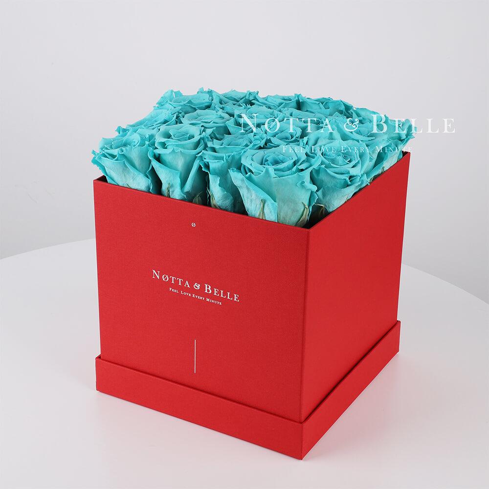 Долговечный букет из 17 бирюзовых роз - №444