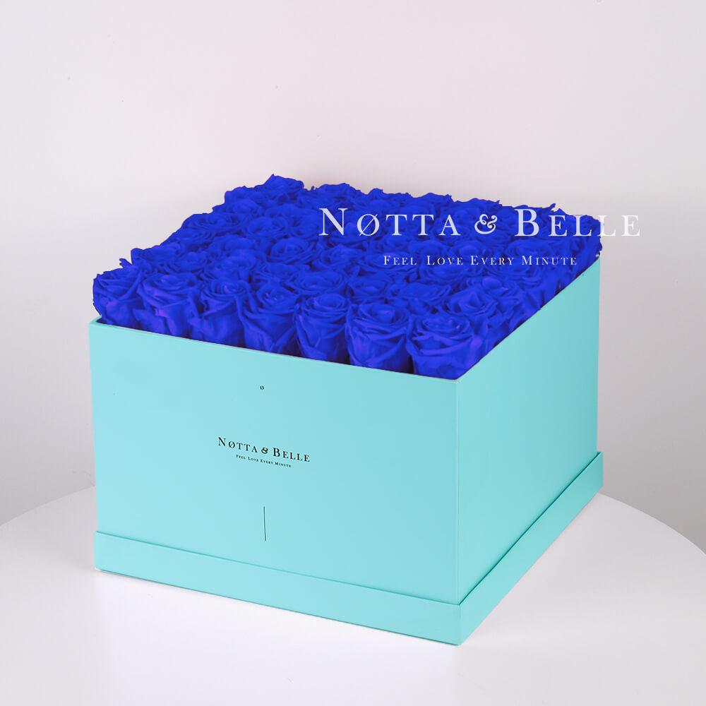 Долговечный букет из 49 синих роз - №733