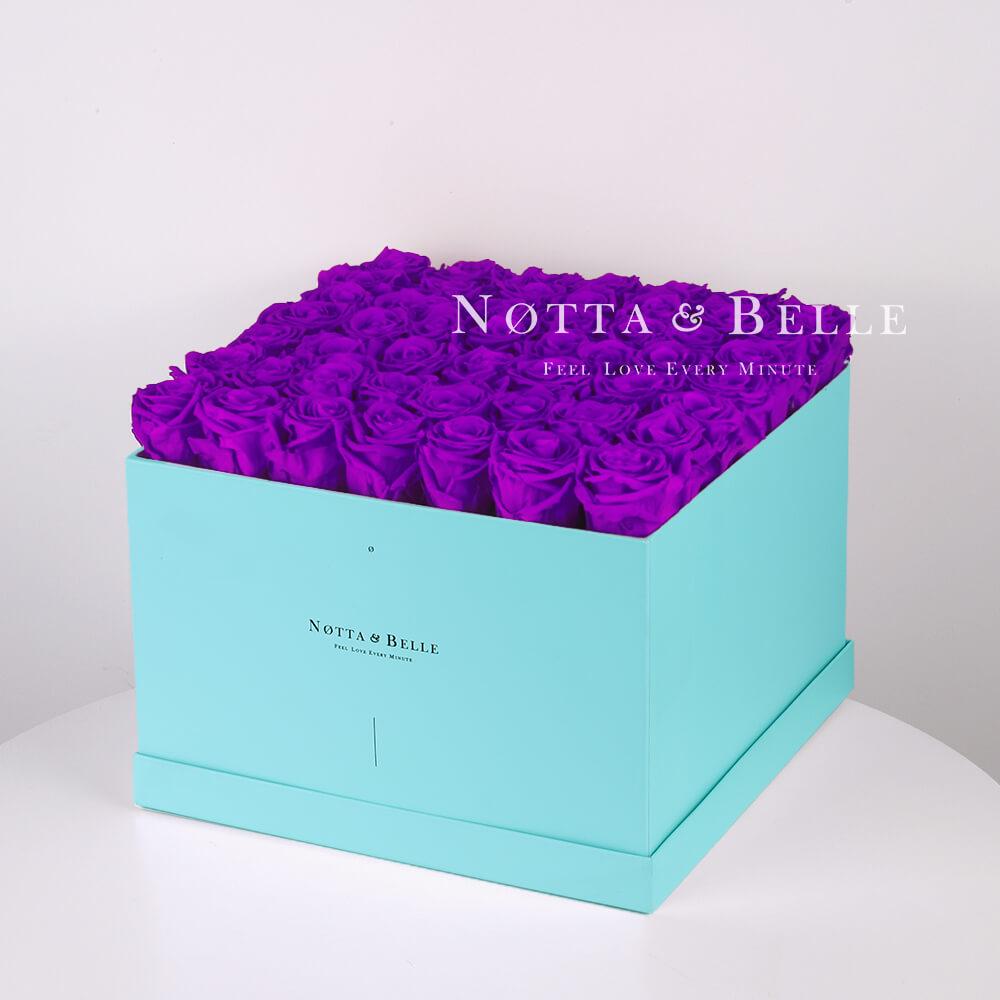 Долговечный букет из 49 фиолетовых роз - №753