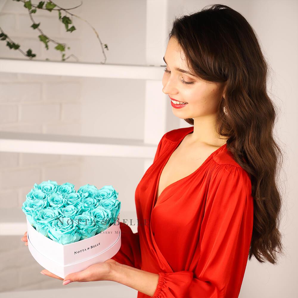 Долговечный букет из 15 бирюзовых роз - №841