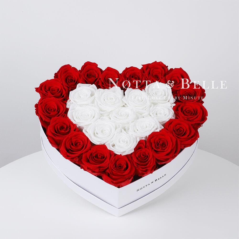 Долговечный букет из 27 роз красного и белого цвета - №981