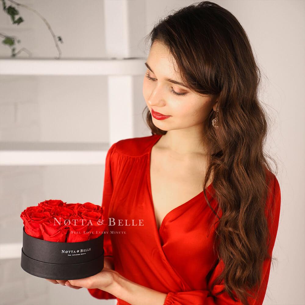 Долговечный букет из 9 красных роз - №1012