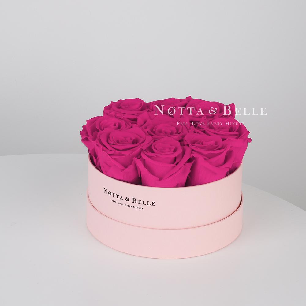 Долговечный букет из 9 роз цвета фуксии - №1025