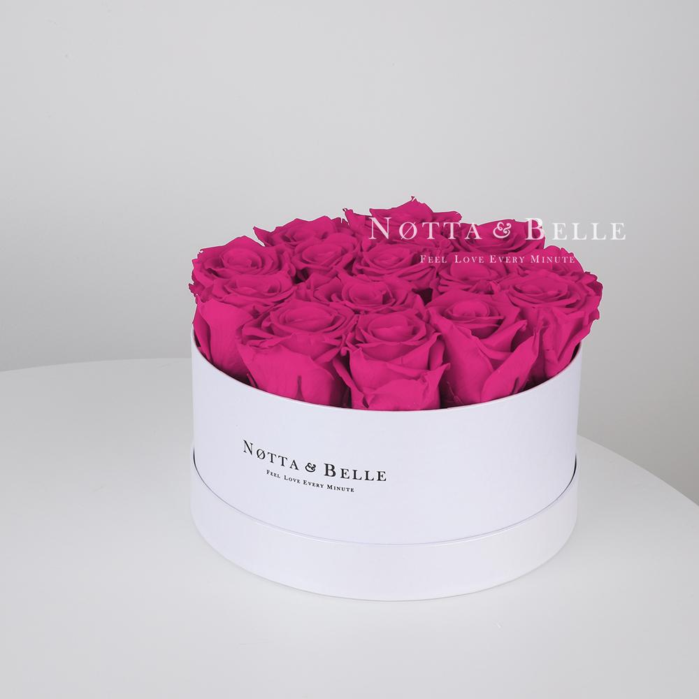 Долговечный букет из 15 роз цвета фуксии - №1121
