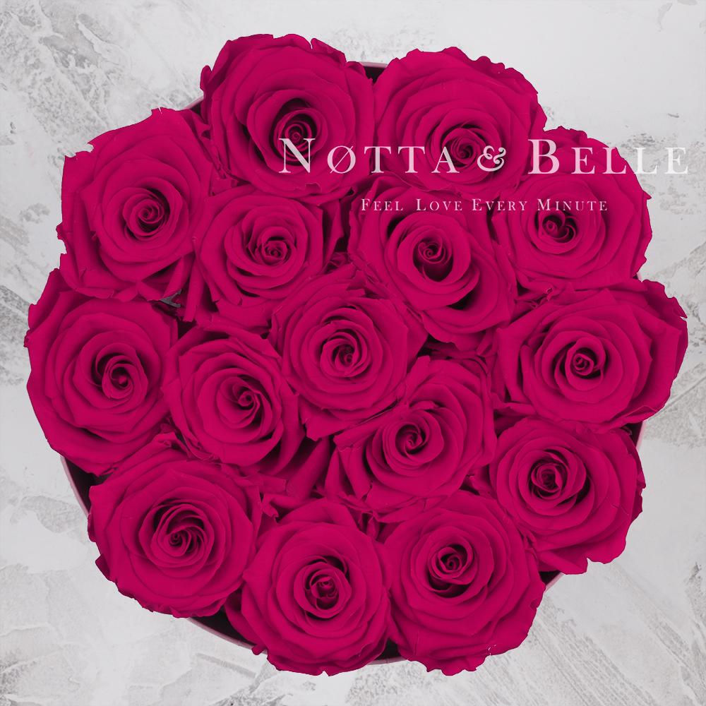Долговечный букет из 15 роз цвета фуксии - №1122