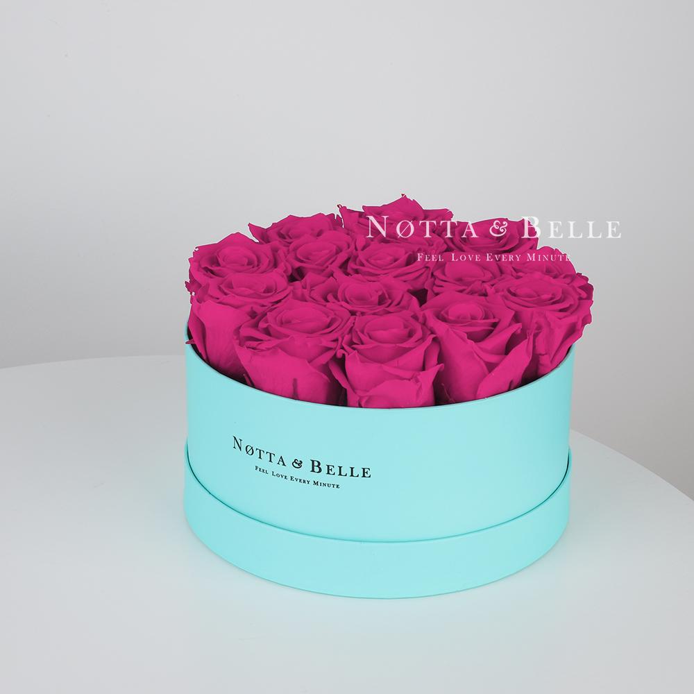 Долговечный букет из 15 роз цвета фуксии - №1123
