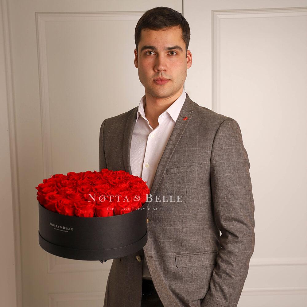 Долговечный букет из 29 красных роз - №1212