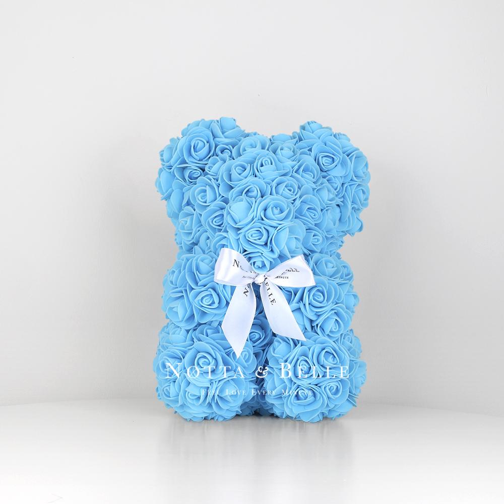 Light blue Rose Bear - 10 in. (25cm)