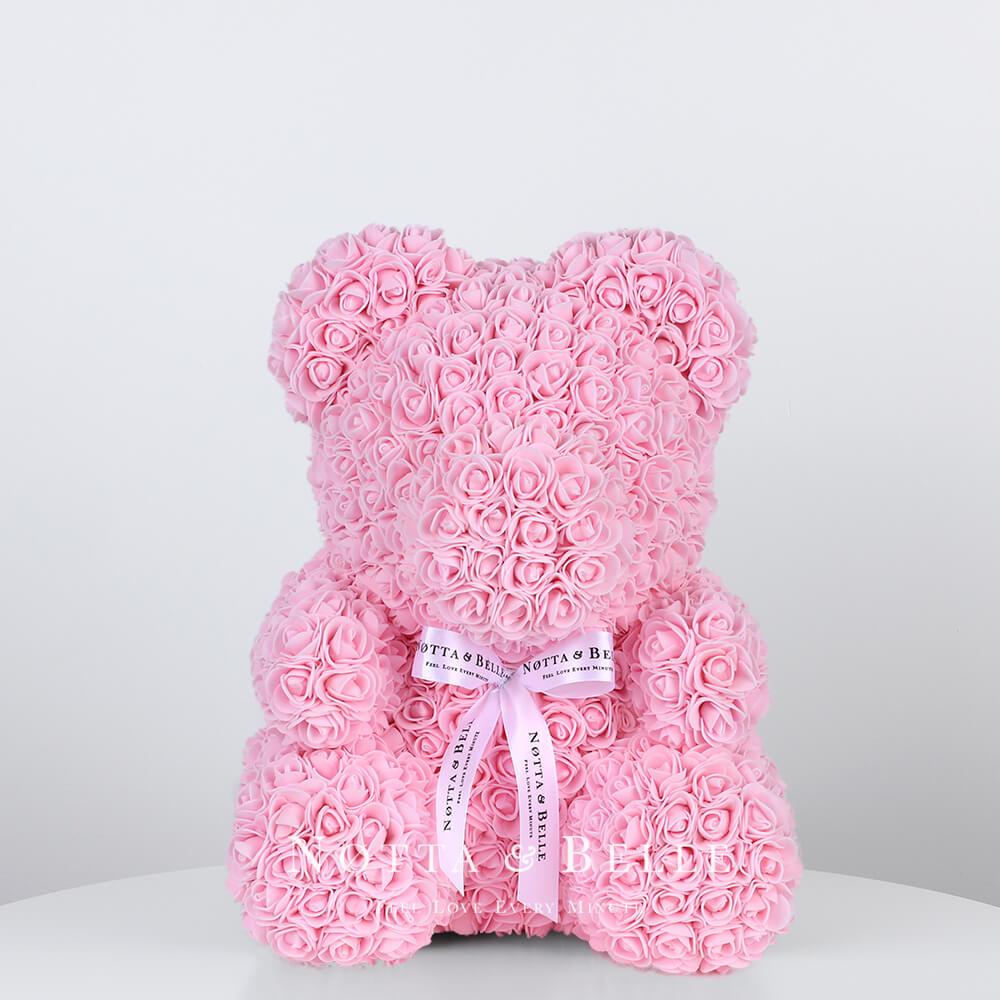 Нежно розовый мишка из роз - 35 см по акции