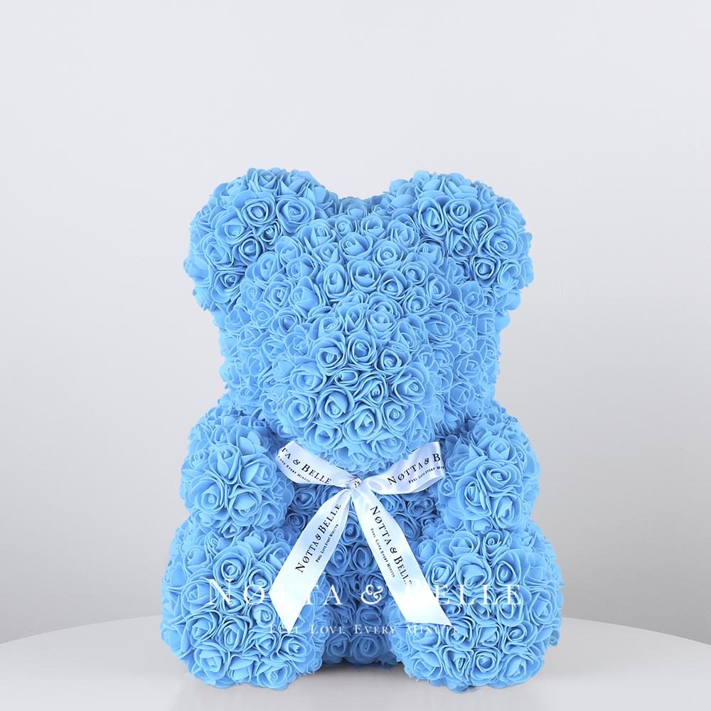 Light blue Rose Bear - 14 in.