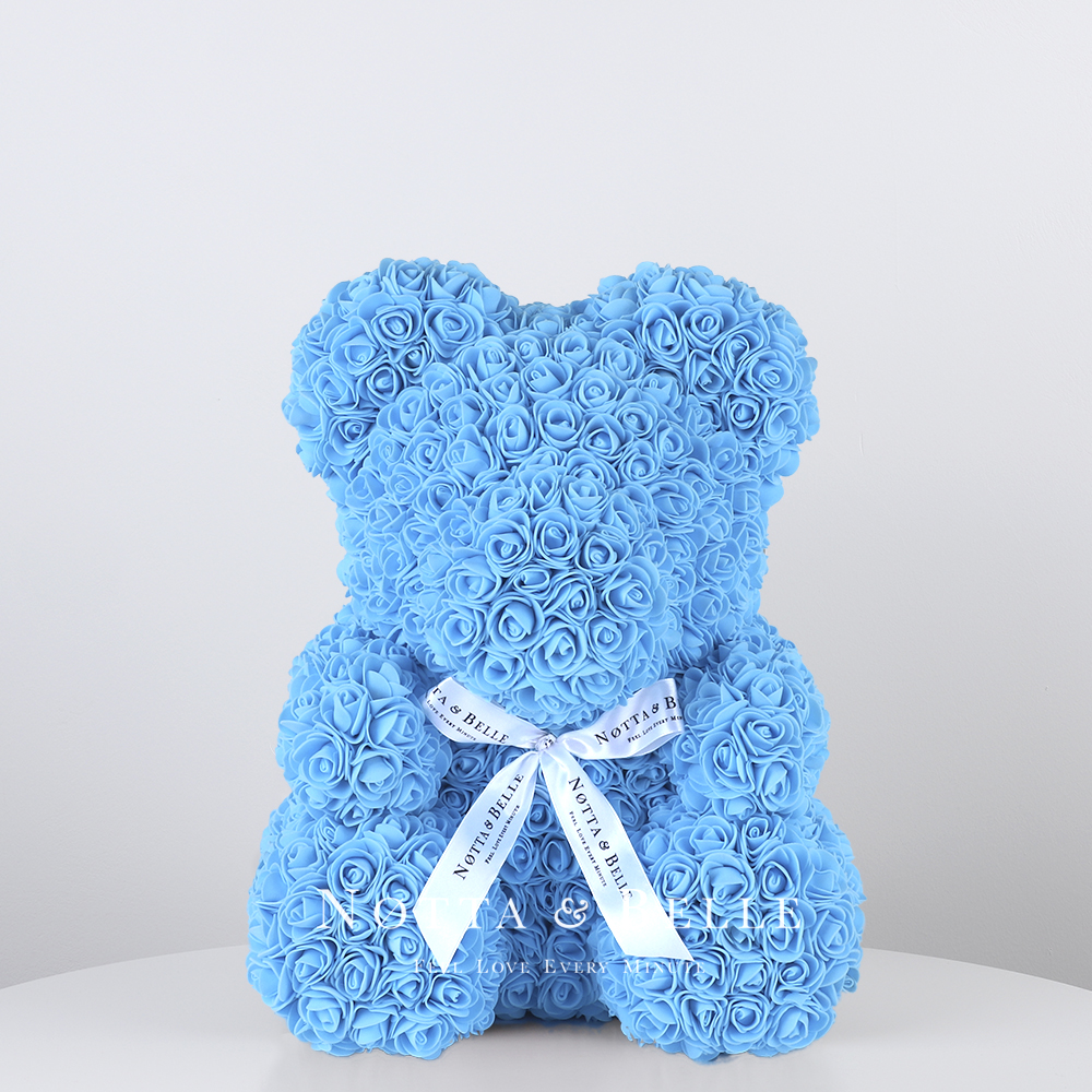 Light blue Rose Bear - 14 in. (35cm)