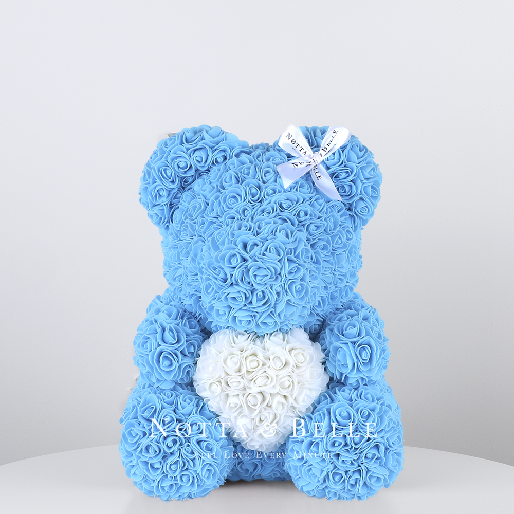Light blue Rose Bear with a heart - 14 in. (35cm)