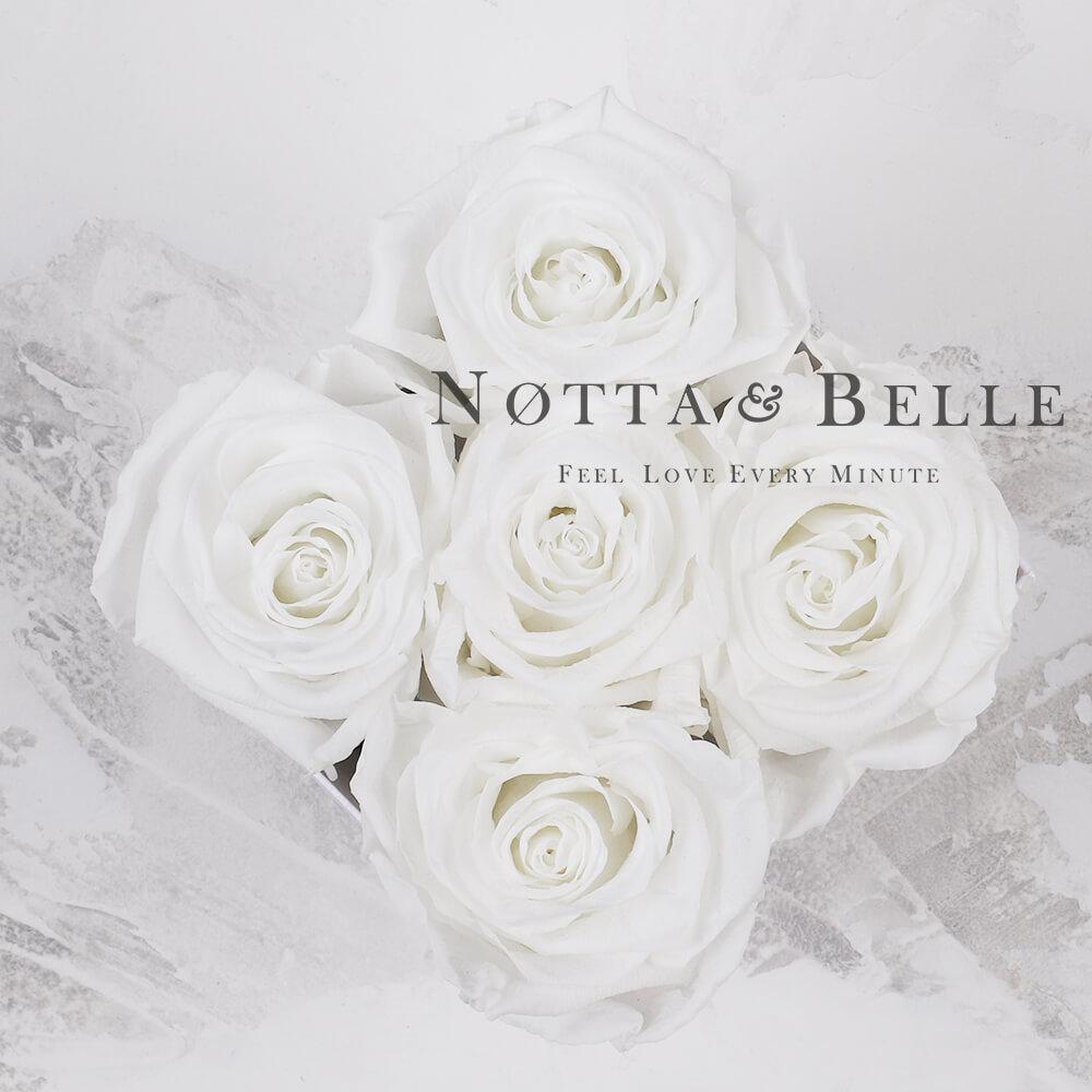 Bílá kytice «Forever» v bílé krabičce - 5 ks