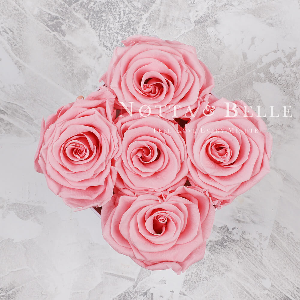 Růžová kytice «Forever» v bílé krabičce - 5 ks