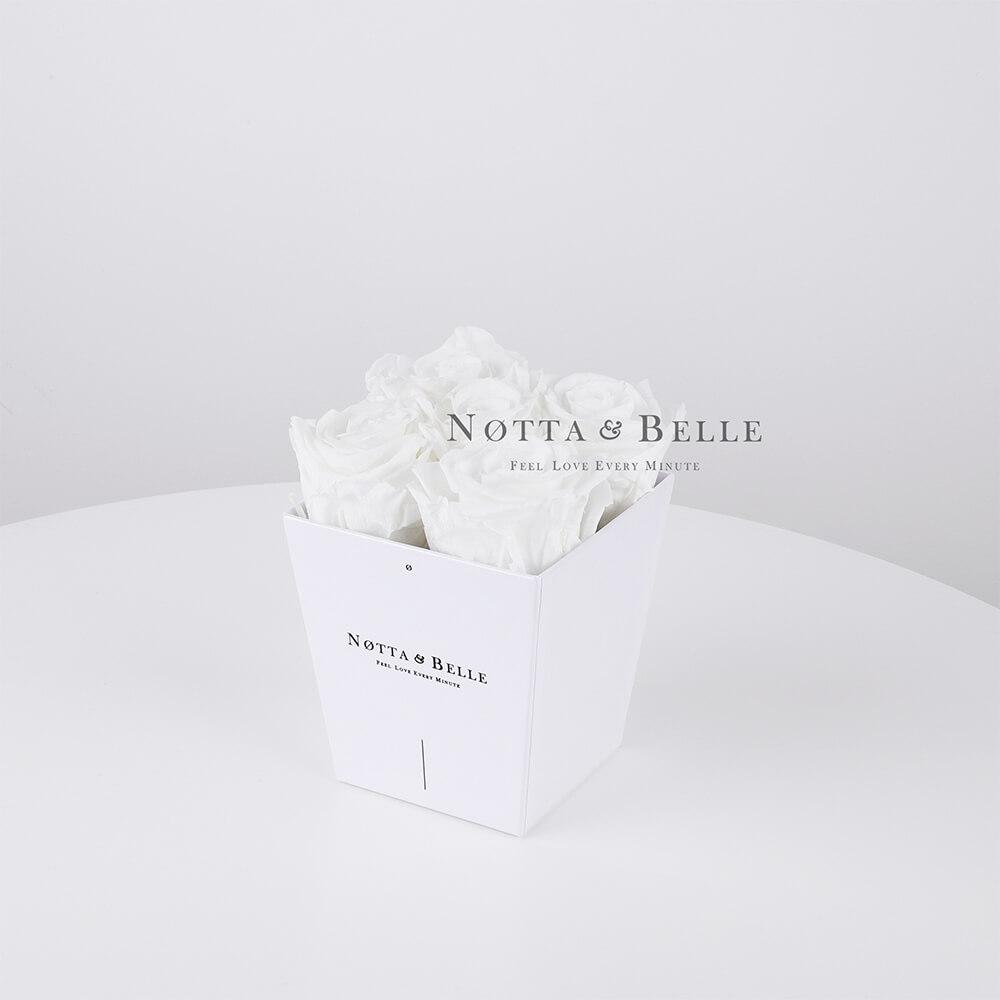 Mazzo colore bianca «Forever» in una scatola bianca - 5 pz.