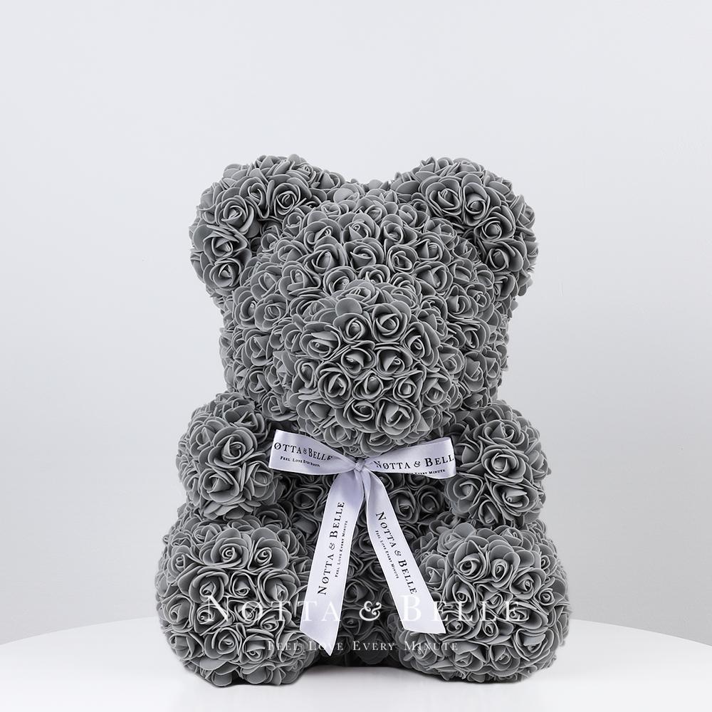 Серый мишка из 3d роз в подарок от Notta & Belle c доставкой по Москве и всей России
