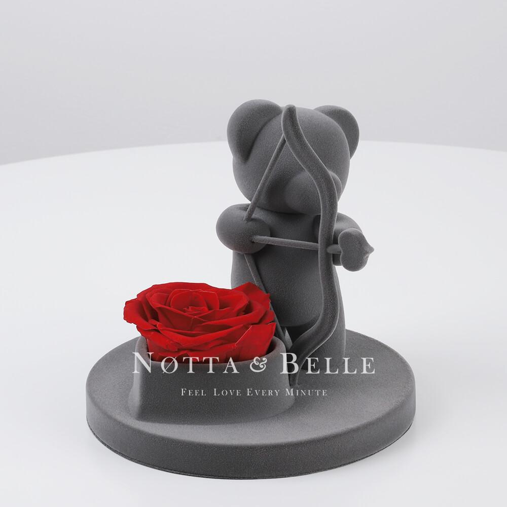 Bär mit einer Rose - Amor