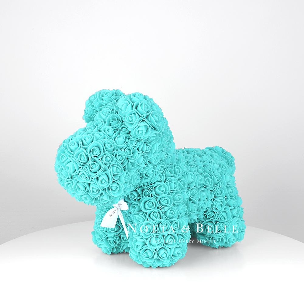Petit chien de roses couleur turquoise  - 35 cm