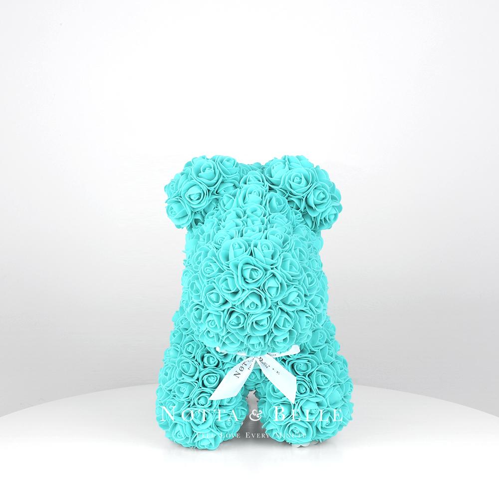 Perrito Turquesa de rosas - 35 cm
