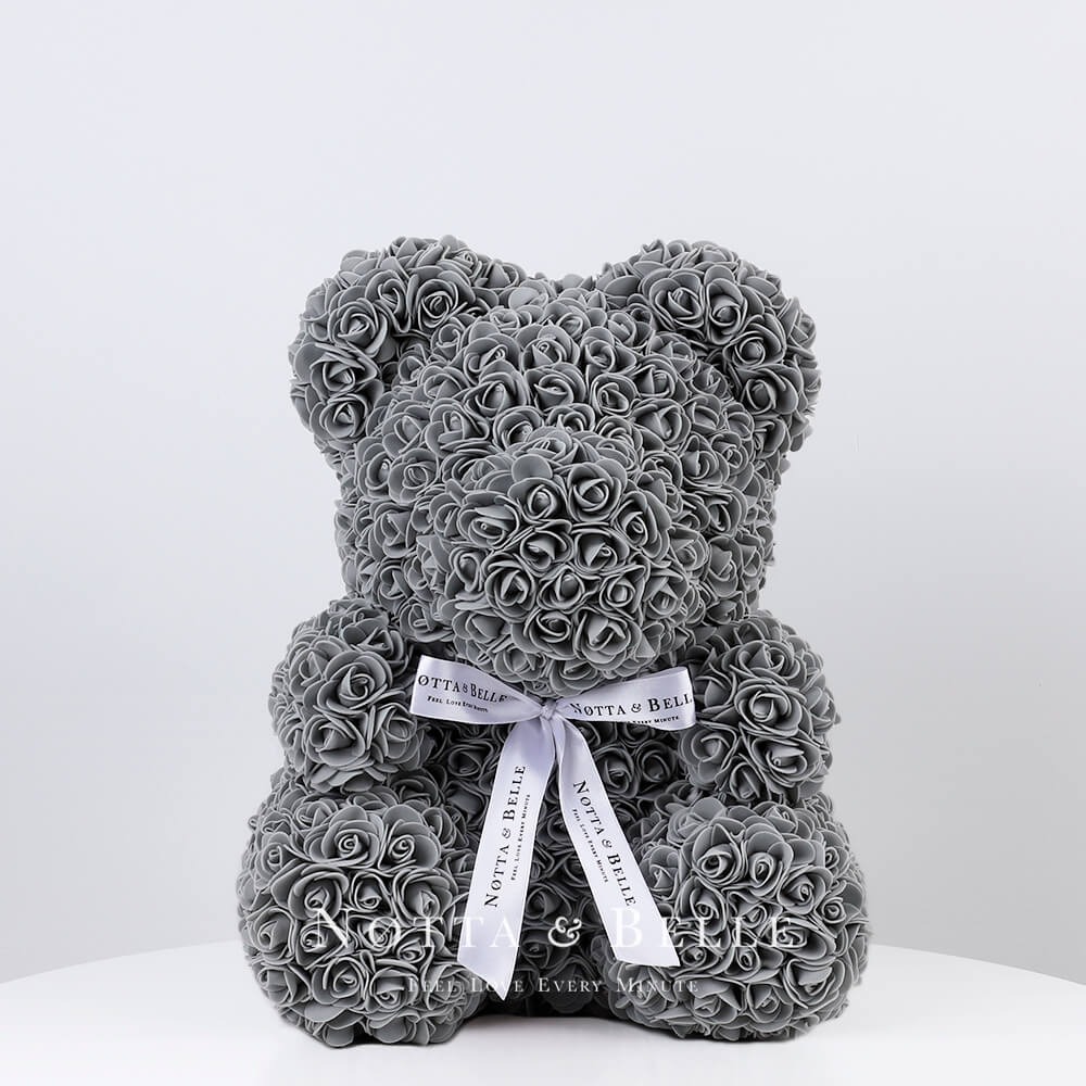Grey Rose Bear - 14 in.