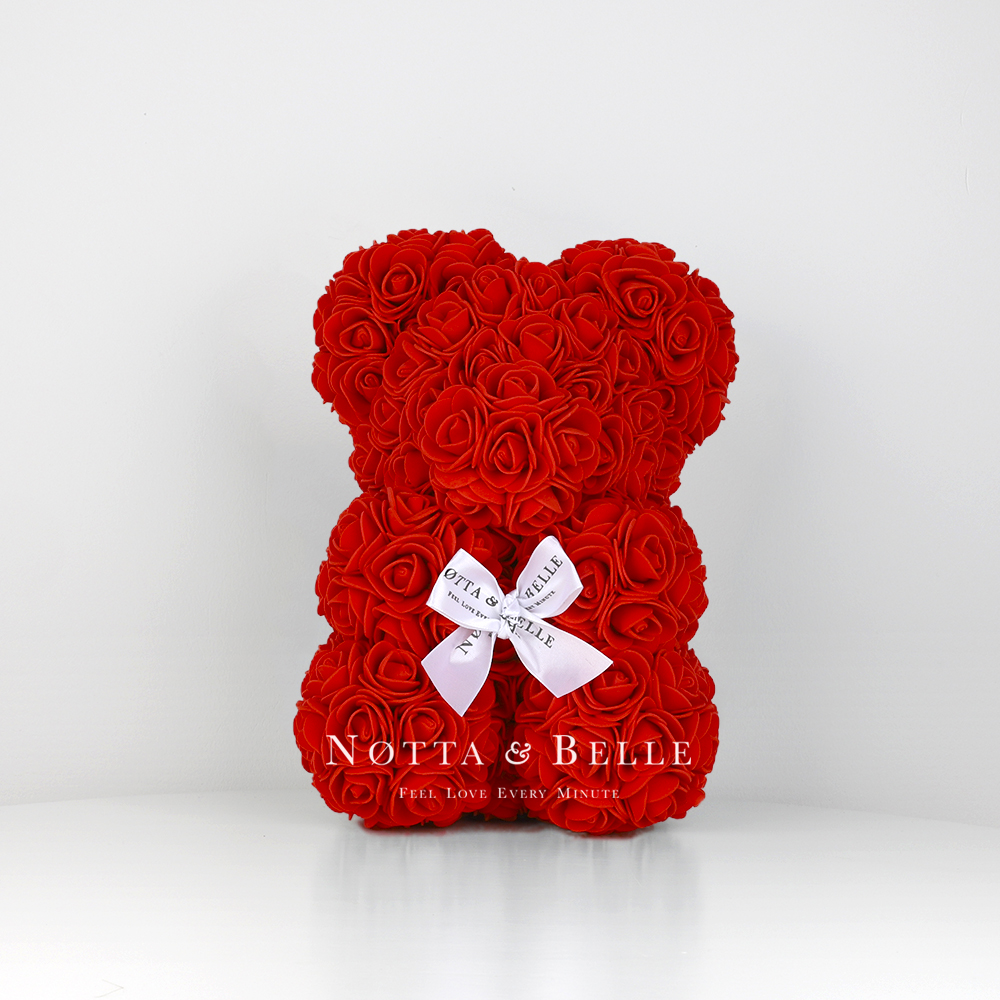 Красный мишка из роз - 25 см