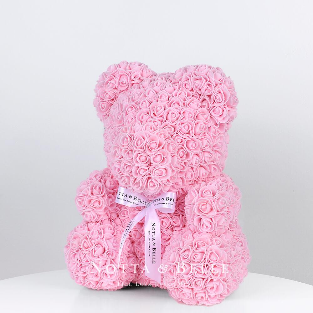 Нежно розовый мишка из роз - 35 см