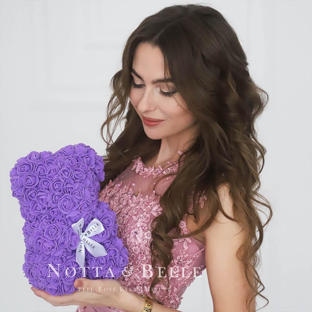 Oso de rosas Moradas - 25cm