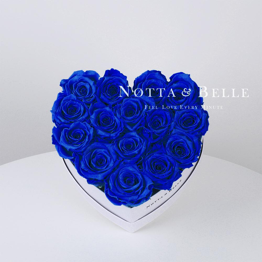 Modrá kytice «Love» v bílé krabičce - 15 ks