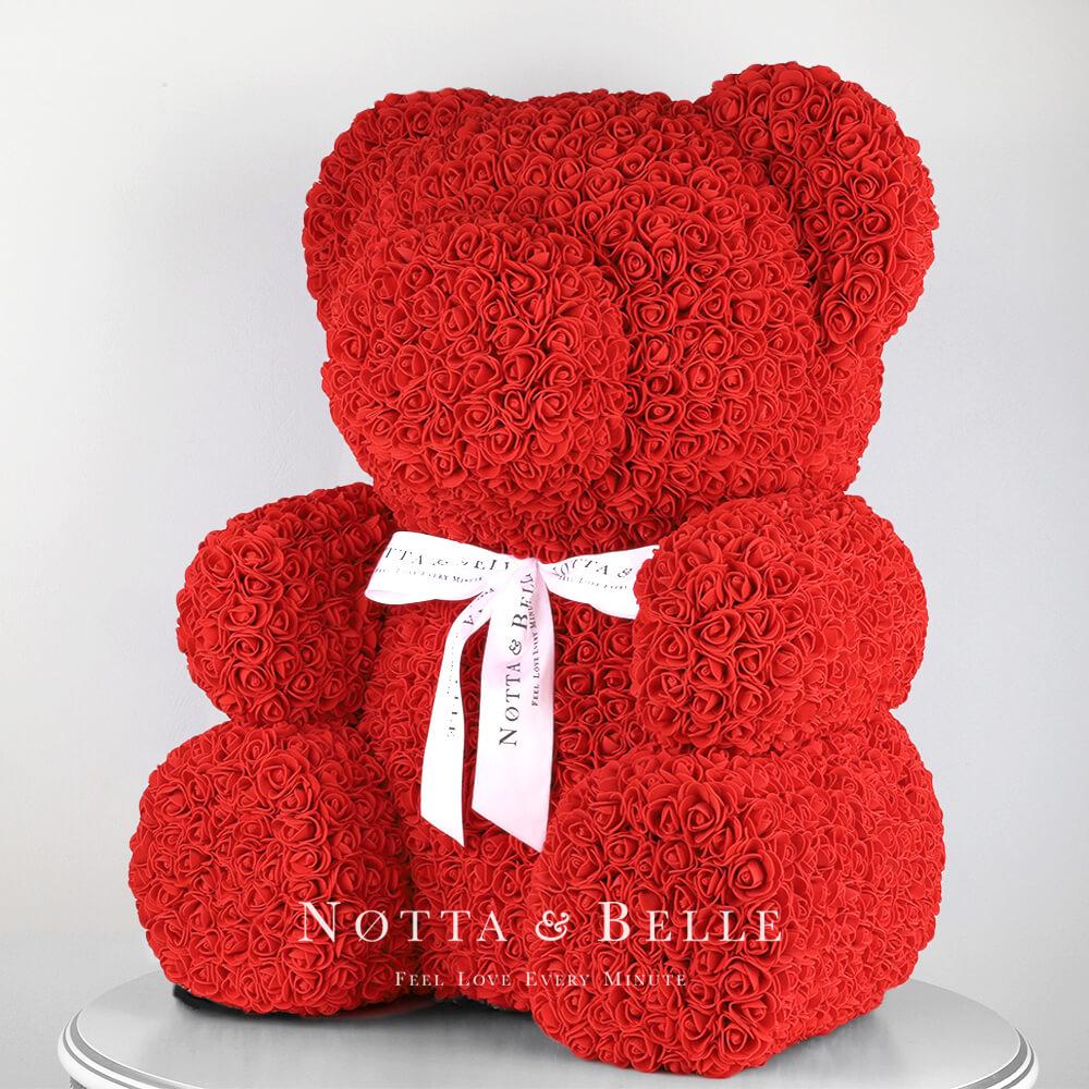 Orsetto di rose rosse 65cm