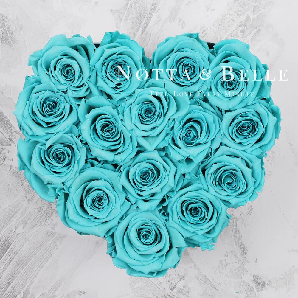 Türkisfarbener Rosenstrauß «Love» in einer weissen Box – 15 Stück