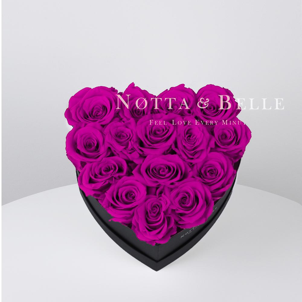 Kytice v barvě fuchsie «Love» v černé krabičce - 15 ks