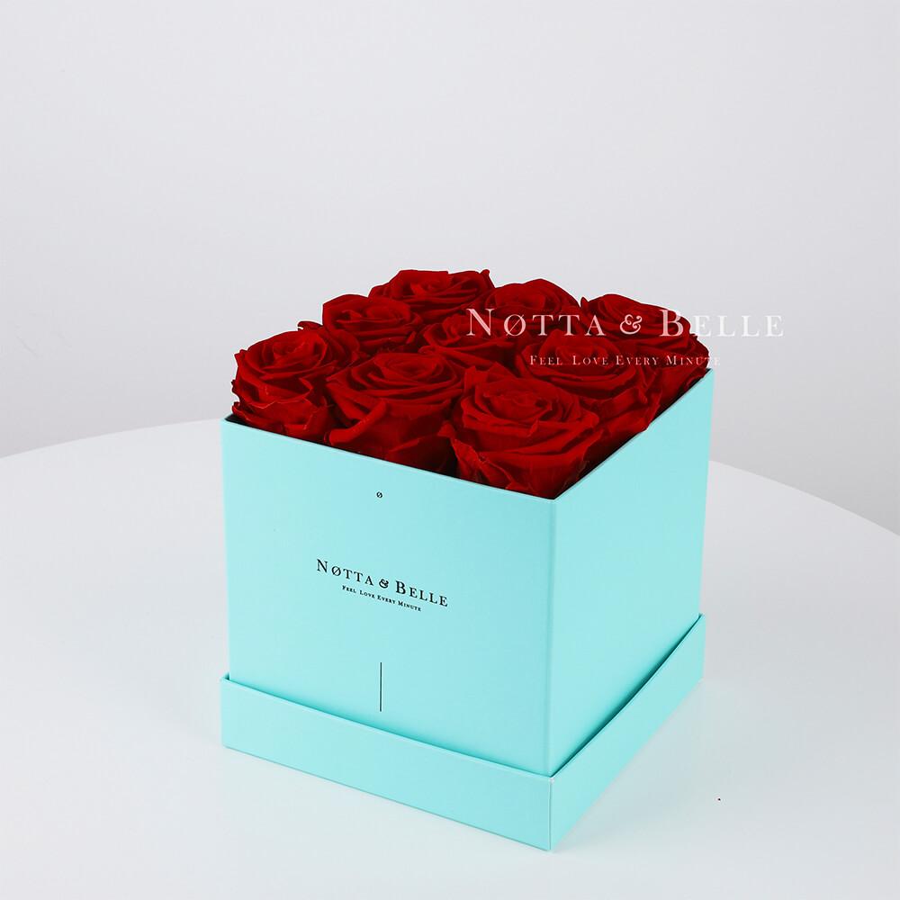 Долговечный букет из 9 бордовых роз - №363