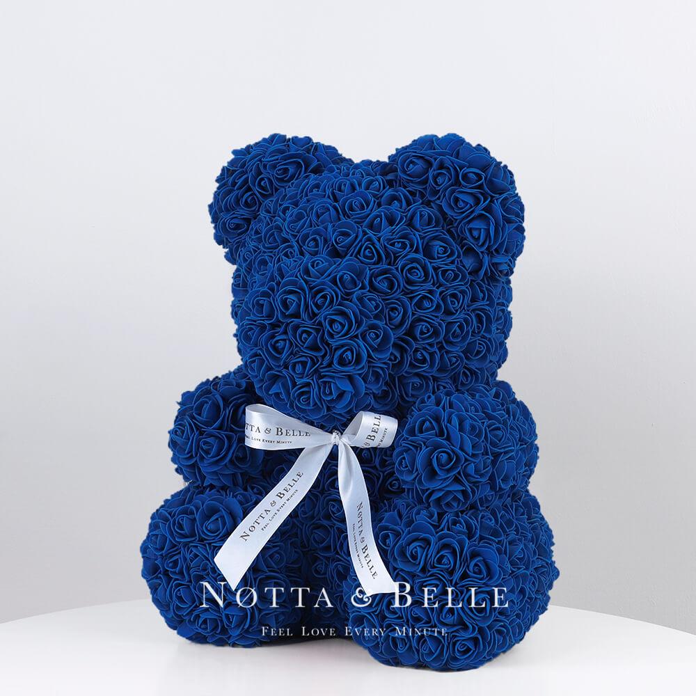 Синий мишка из роз - 35 см