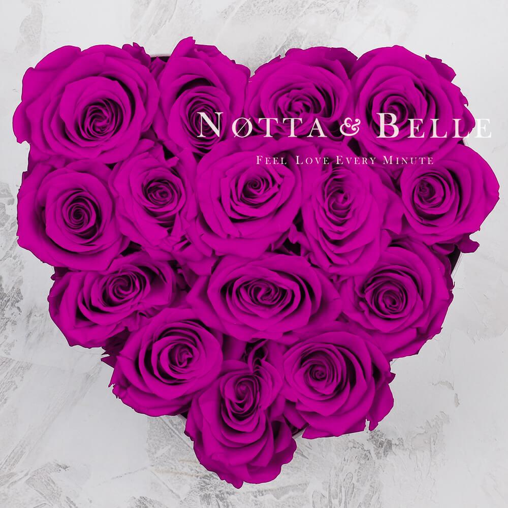 «Love» aus 15 Rosen Farbe Fuchsia