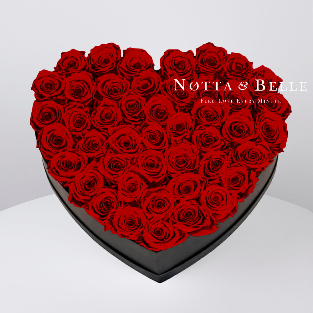 Долговечный букет из 35 бордовых роз - №062