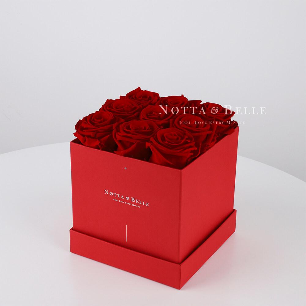 Долговечный букет из 9 бордовых роз - №364